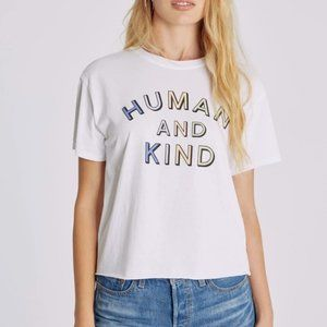 NEW Wildfox Humankind Jamie Tee Short Sleeve White Graphic L Human and Kind